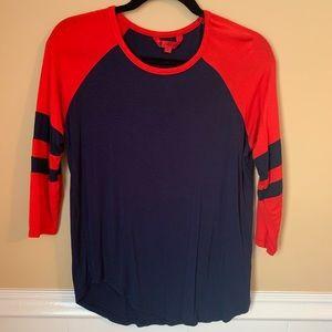 Hot Kiss Red & Blue Baseball Tshirt